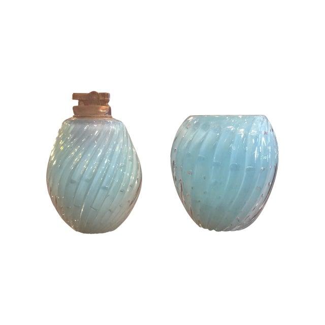 Baby Blue Muranoglass Smoke Set - A Pair - Image 1 of 10