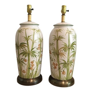 A Pair of Chinoiserie Style Hand Painted Ceramic Ginger Jar Lamps