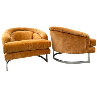 Modern Barrel Back Club Chairs - Pair