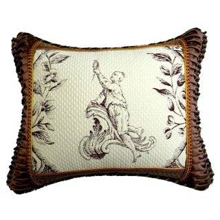 Embroidered Accent Pillow with Vintage Trim