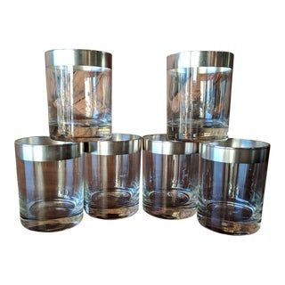 Dorothy Thorpe Mid-Century Silver Rimmed Rocks Cocktail Glasses - Set of 6