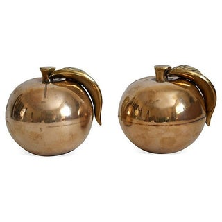 Large Brass Apples Bookends - A Pair