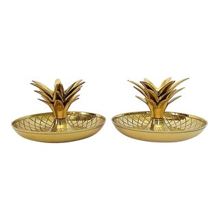 Brass Pineapple Candle Holders- A Pair