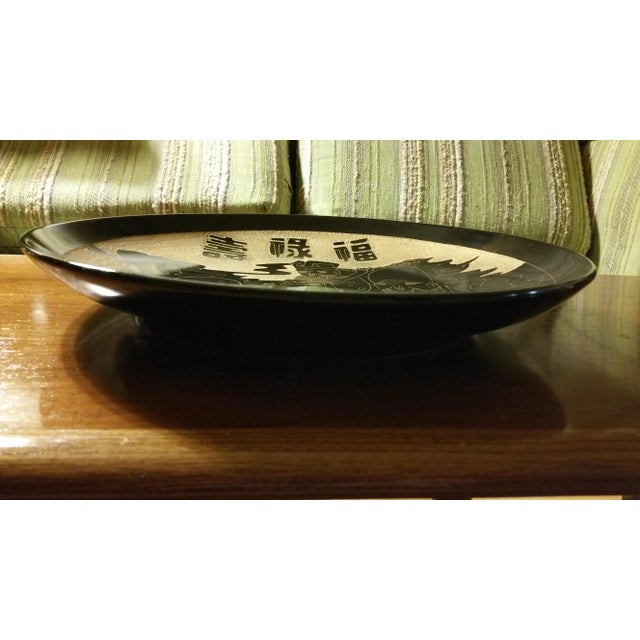 Asian Fortune Gods Hand Carved Ceramic Charger Plate - Image 4 of 5