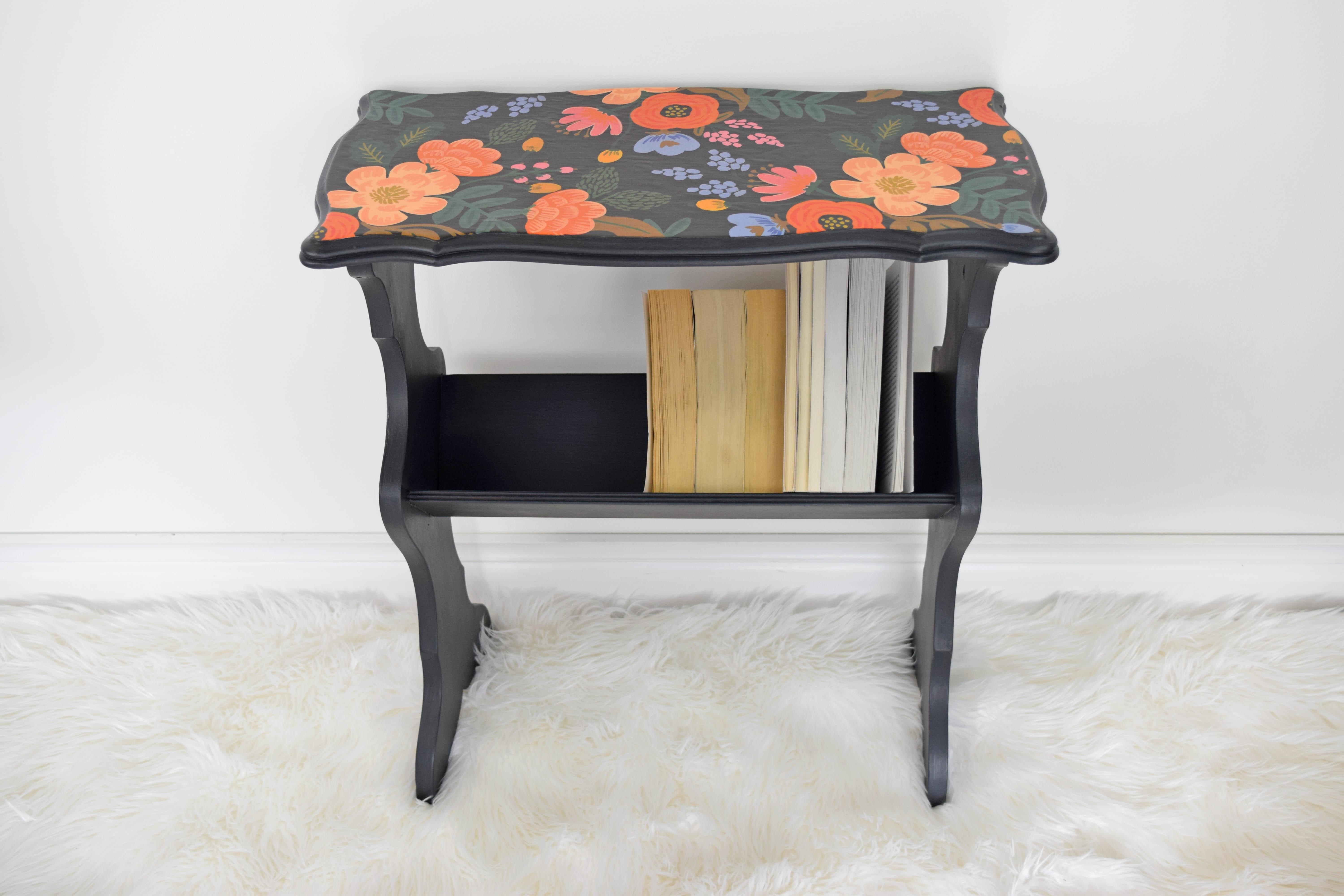 Antique Decoupage Top Chalk Painted End Table   Image 9 Of 11