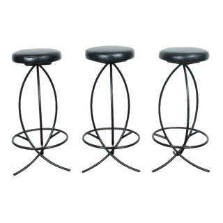 Wrought Iron Leather Seat Bar Stools - Set of 3
