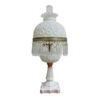 Antique Art Deco Milk Glass Hurricane Table Lamp