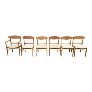 Mid-Century Modern Teak Dining Chairs Brand New Cushion Pads and Upholstery - Set of 6