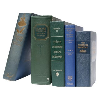 Vintage Blue & Green Medical Books - Set of 5
