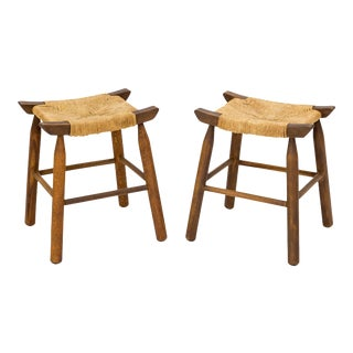 Mid Century Woven Rush Seat Low Stools, A Pair