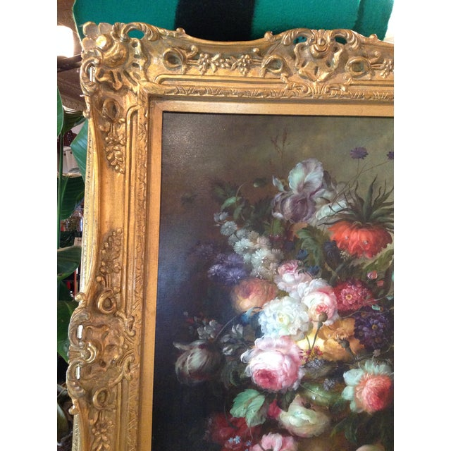 Large Floral Oil Painting in Ornate Gilded Frame - Image 5 of 10