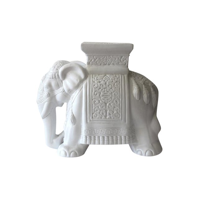 Image of Chinoiserie White Elephant Stand Side Table