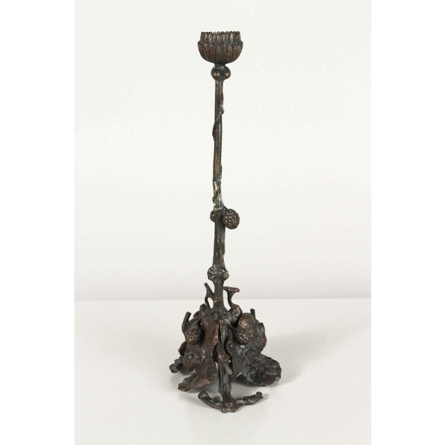 Pair of Art and Crafts Bronze Candlesticks - Image 6 of 9