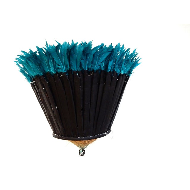 Ceremonial Turquoise Juju Hat Wall Hanging - Image 7 of 7