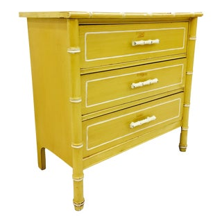 Vintage Yellow Faux Bamboo Chest