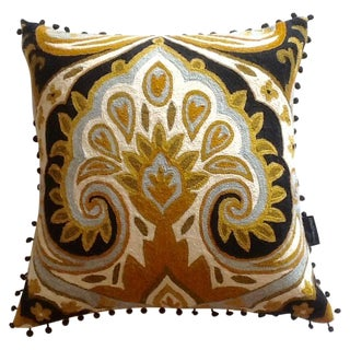 Vintage Cynthia Rowley Wool Embroidered Pillow