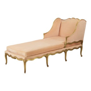 19th Century Antique French Louis XV Style Gilded Chaise Lounge