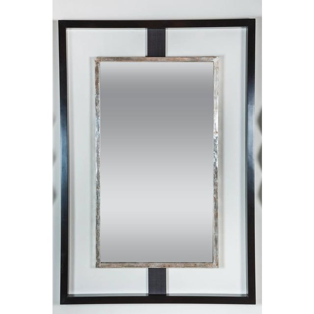 Paul Marra Negative Space Mirror with Distressed Silver Inner Frame - Image 5 of 5