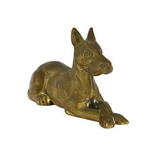 Vintage Cast Brass Dog Figure