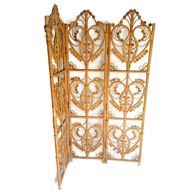 Image of Vintage Iconic Rattan Peacock Folding Screen 1960
