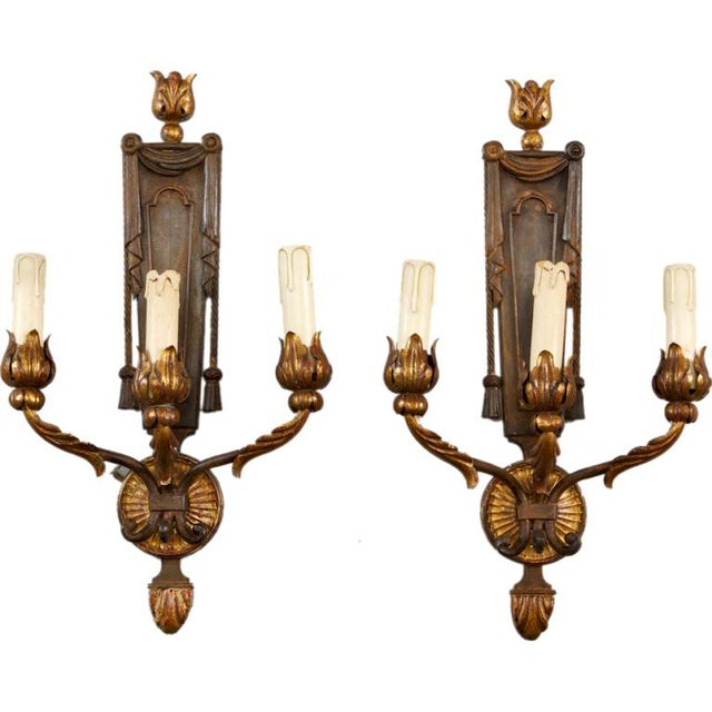 French Neoclassical Three-Light Gilt Metal Sconces - A Pair - Image 1 of 4