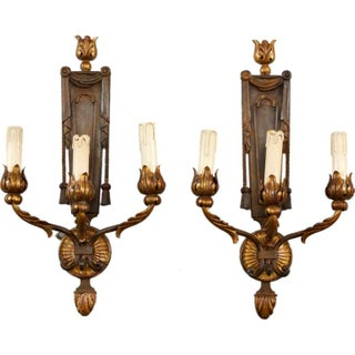 French Neoclassical Three-Light Gilt Metal Sconces - A Pair
