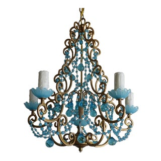 Crystal Beaded Chandelier with Blue Crystals