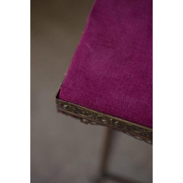 Antique 20th C. Altar Plum Velvet Table or Plant Stand - Image 4 of 9