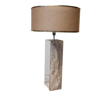 Mid Century Chrome & Stone Table Lamp