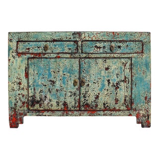 Chinese Distressed Blue & Red Credenza