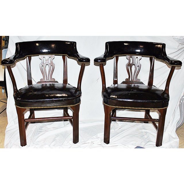 Leather Lyre-Back Lawyer Chairs - Pair - Image 2 of 9