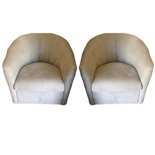 Contemporary Swivel Bucket Chairs - a Pair