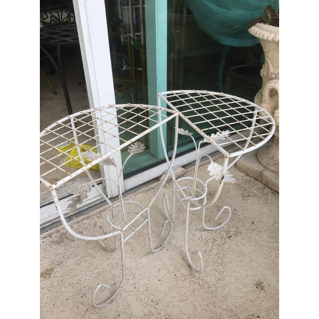 White Steel Mesh Coated Metal Demi-Lune Side Tables - a Pair - Image 2 of 6