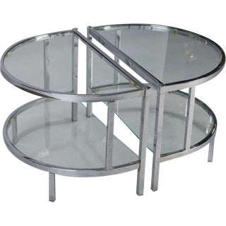 Demilune Chrome & Glass Side Tables - A Pair