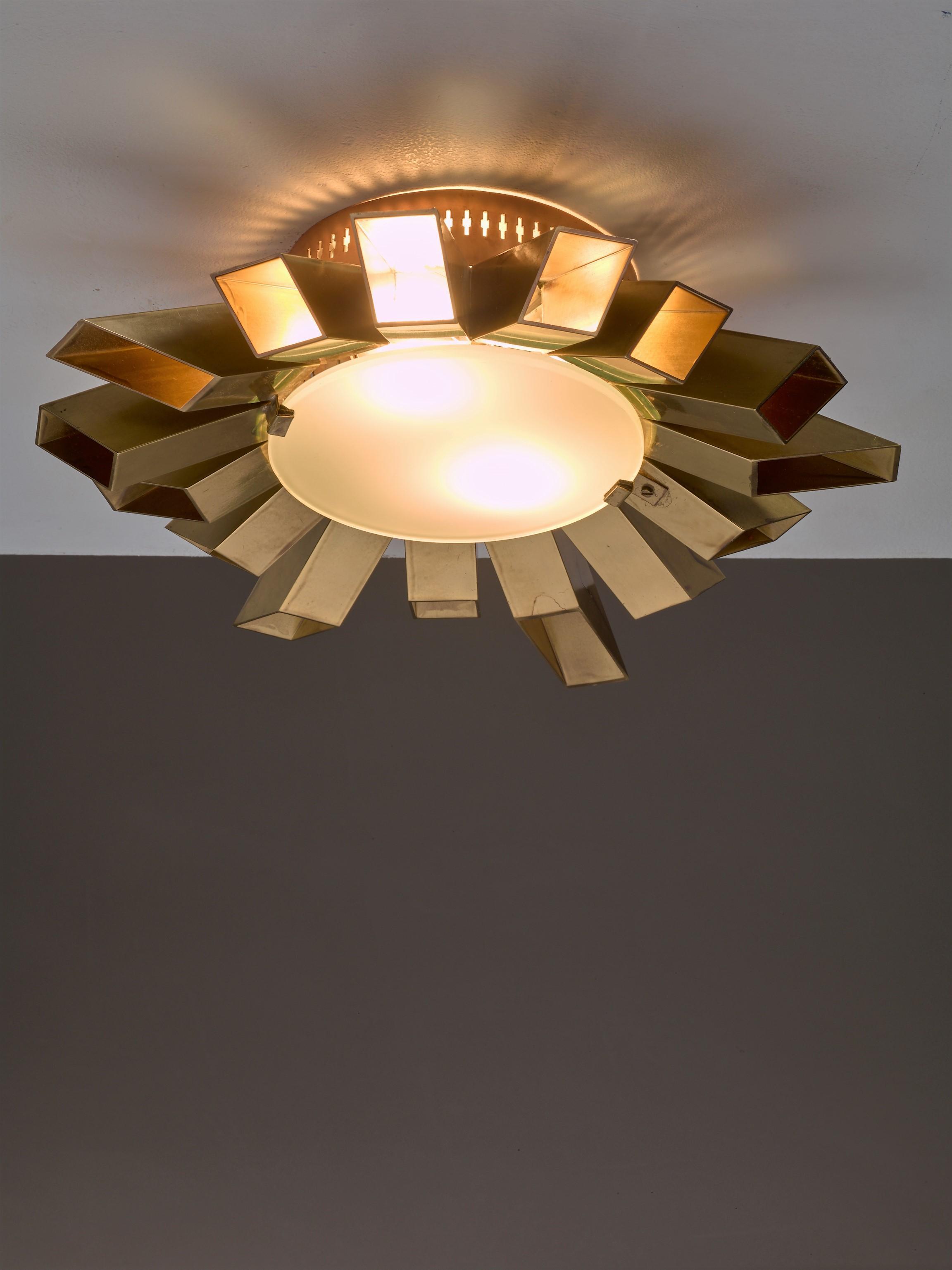 Luxury Swedish Brass Flush Mount Sunburst Lamp 1960s DECASO
