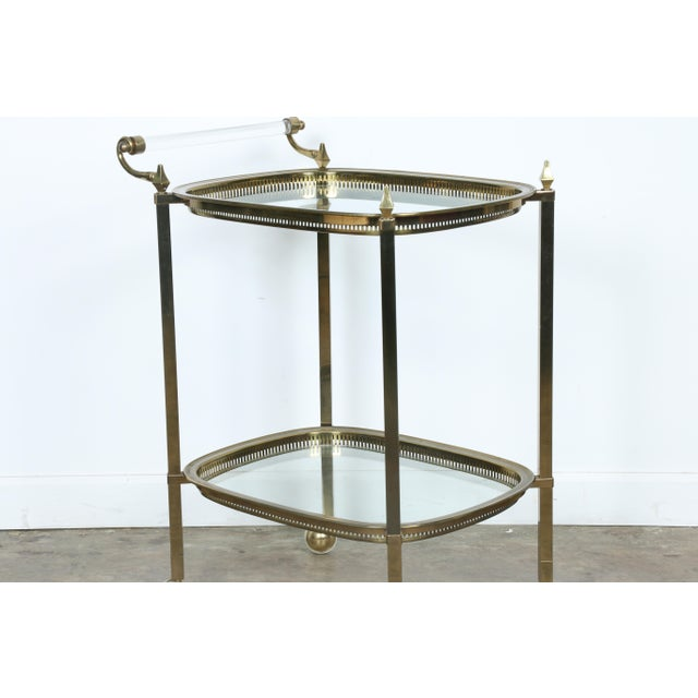 Mid-Century Gold-Tone Bar Cart - Image 6 of 11