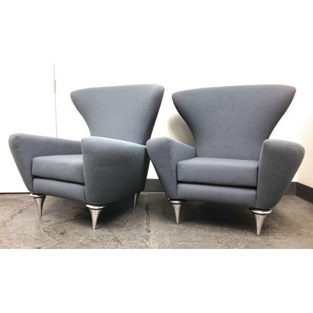 Modern Galerkin Wing Back Chairs - Pair - Image 3 of 7