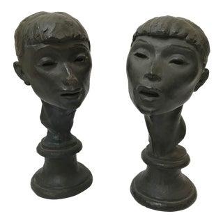 Fred Press Ballerina Bust Sculptures - A Pair