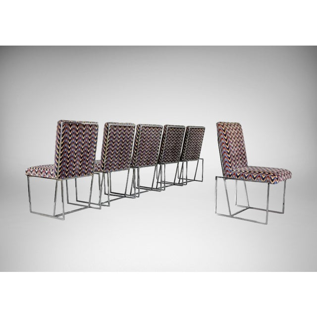 Image of 1970s Milo Baughman Style Chrome Dining Chairs - Set of 6