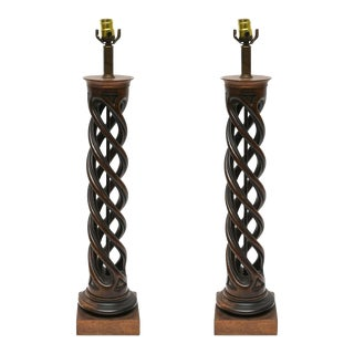 Pair of Frederick Cooper Helix Lamps, 1950s