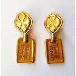 Image of Chanel CC Dog Tag Quilted Clip on Earrings