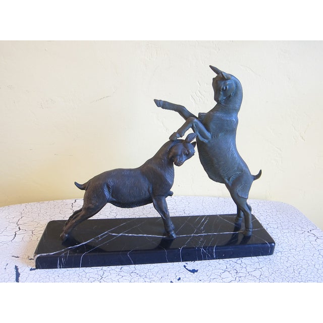 Vintage Art Deco Bronzed Rutting Goats on Marble - Image 2 of 11