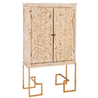 Ananda Tall Embossed Bar Linen Cabinet