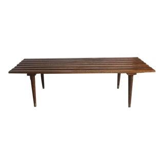 Mid-Century Modern Yugoslavian Slat Wood Bench