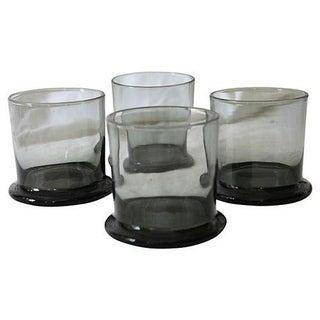 Vintage Smoke Gray Rocks Glasses - S/4