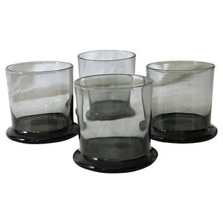 Vintage Smoke Gray Rocks Glasses - S/4