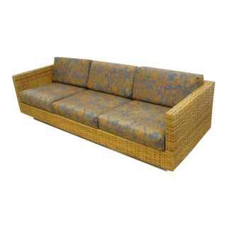 1970 Harvey Probber Style Woven Rattan & Chrome Sofa