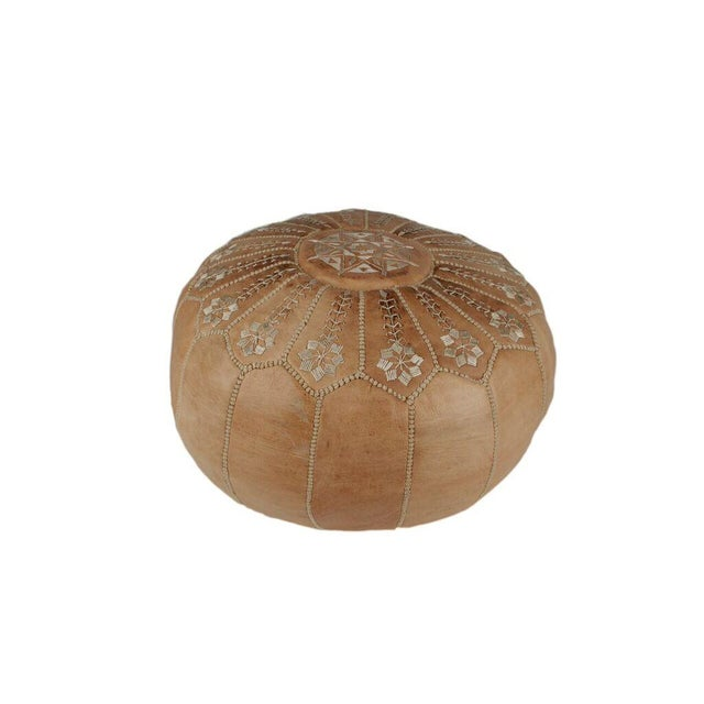 Embroidered Natural Desert Starburst Leather Pouf - Image 2 of 3