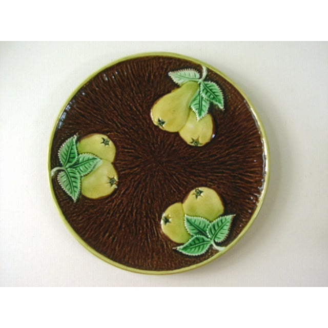 Image of Vintage Majolica Plate With Pears