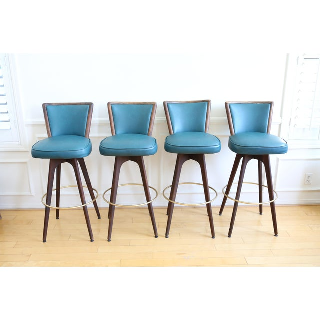 Mid Century Modern Vintage Swivel Bar / Counter Stools - Set of 4 - Image 2 of 9